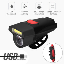 New Cycling Headlignt LED Flashlight For Bike Front Lights Night Riding MTB Road Bike Lamp USB Floodlight Bicycle Tools цена