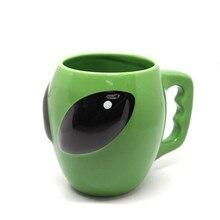 1 Piece Ceramic Creative 3D Aliens Green Mug Tea Cup Drinkware Gift for Friend 12.5cm