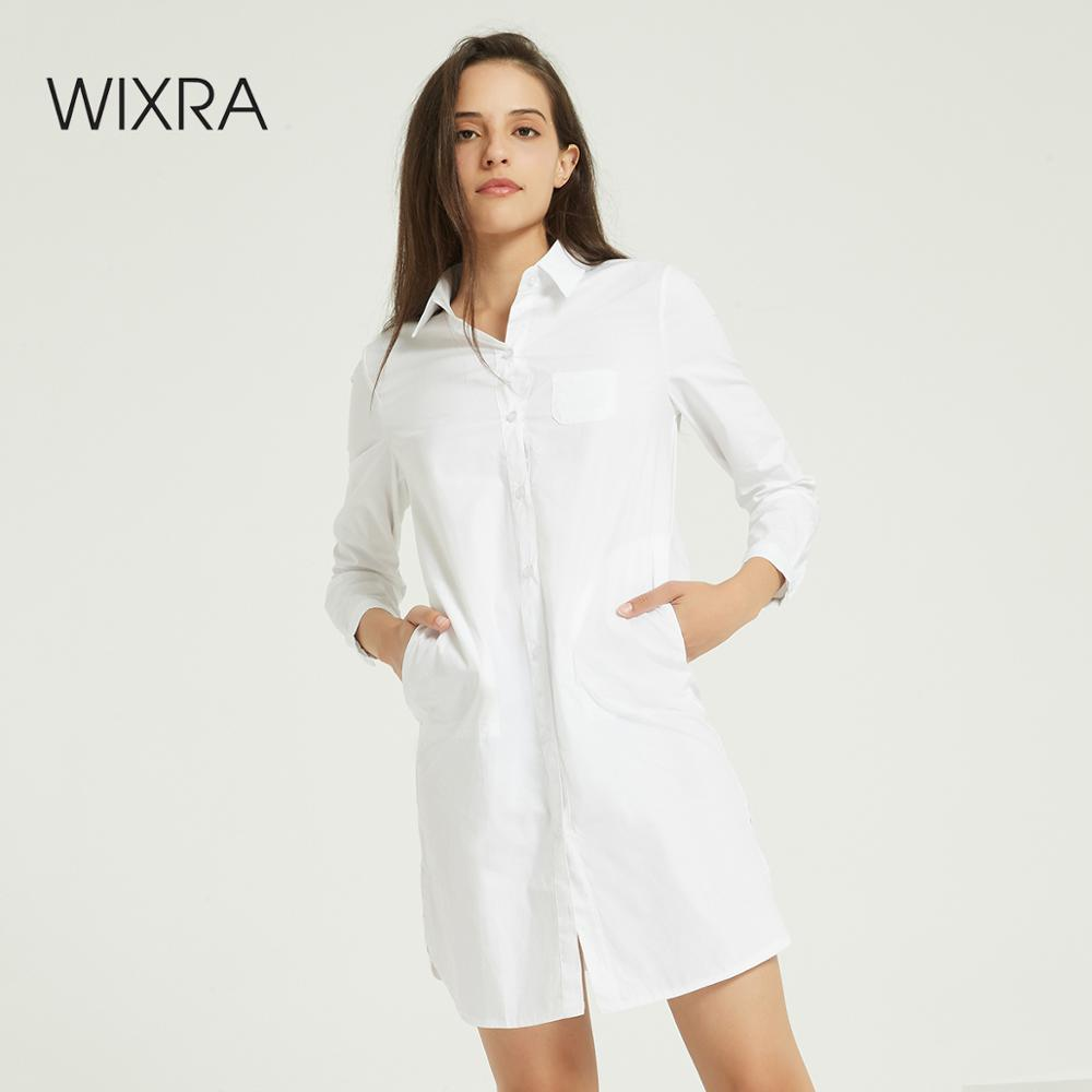 Wixra Women Solid Slim White Cotton Blouse Ladies Elegant Long Sleeve Pockets Casual Long Shirts Autumn Spring Tops