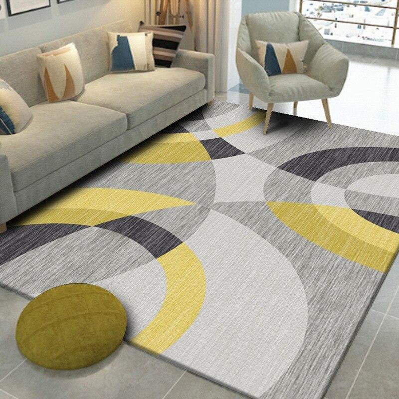 Geometric Floor Carpet for Living Room Bedroom Coffee Table Rug Modern Printing Washable Kids Play Mat Home Decor