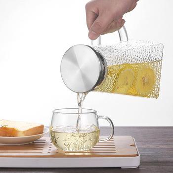 1200ml 1500ml 1800ML przezroczysty szklany dzbanek na wodę odporny na wysoką temperaturę dzbanek na herbatę dzbanek na herbatę dzbanek z filtrem ze stali nierdzewnej tanie i dobre opinie LISM Szkło Ekologiczne CE UE Lfgb teapot