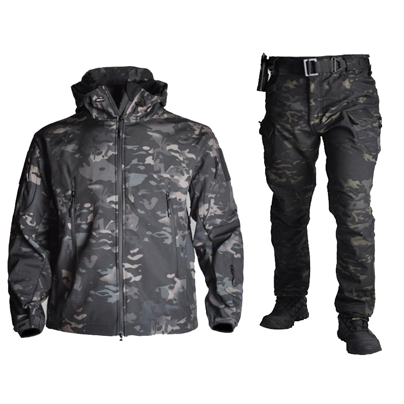 Tactical Sharkskin Softshell TAD Jacket+Pants Men Camouflage Hunting Clothes Military Uniform Hiking Waterproof Hooded Suits