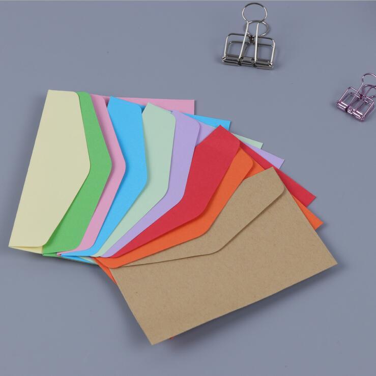 100pcs/lot 115*80mm Candy Color Mini For Invitation Greeting Card Postcard Cute Envelopes