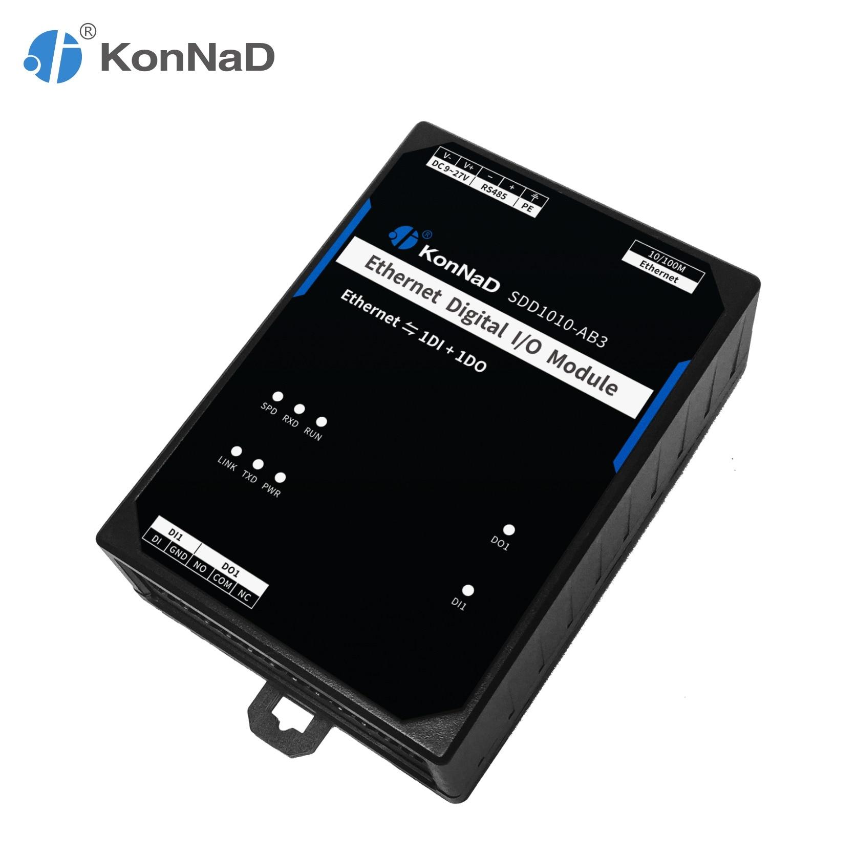 Ethernet Remote IO Controller Module 1DI 1DO Pulse Count Form C Relay KonNaD RTU Master Modbus TCP Communication