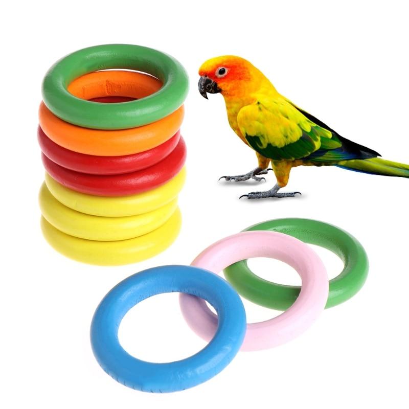 10 Pcs/Bag Wood Rings Parrot Toys Accessories Colorful Random Color DIY Ornament