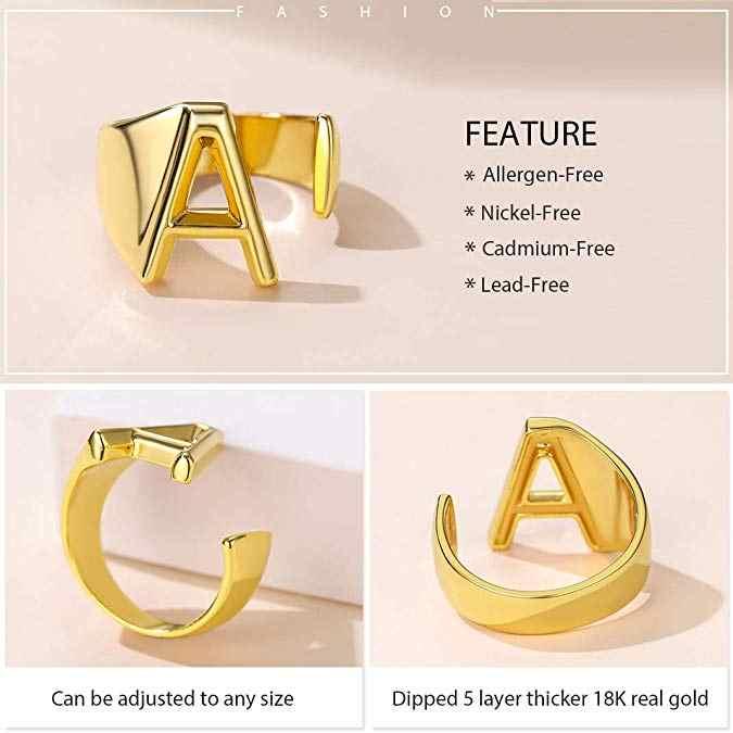 מינימליסטי נשי A-Z מכתב מתכת טבעת קסם כסף זהב מלא טבעת אירוסין אופנה פתיחת טבעות נישואים לנשים