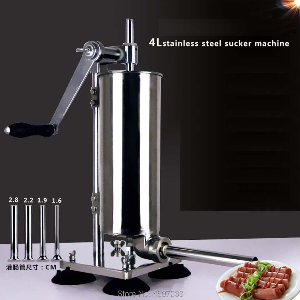 4L Manual Sausage Syringe Stainless Steel Sausage Filler Kitchen Meat Stuffing Preparation Salami Making Sausage Maker