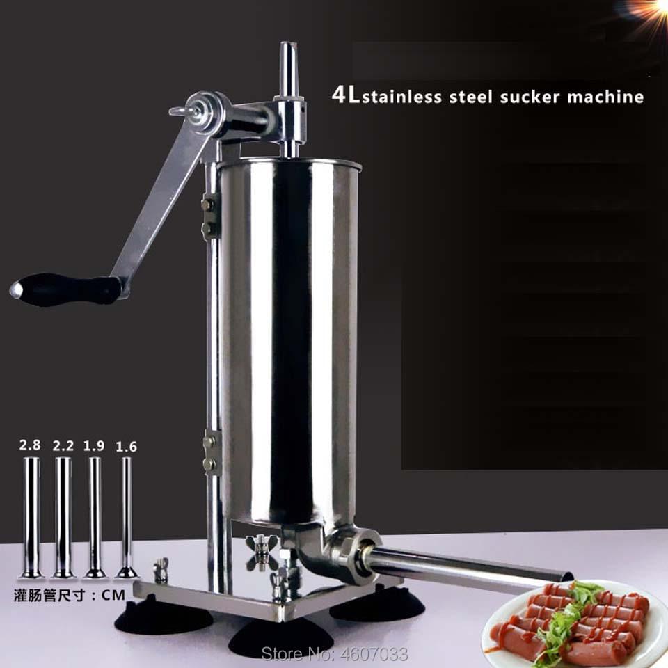 4L Manual Sausage Syringe Stainless Steel Sausage Filler Maker Kitchen Meat Stuffing Preparation Salami Making Enema Machine