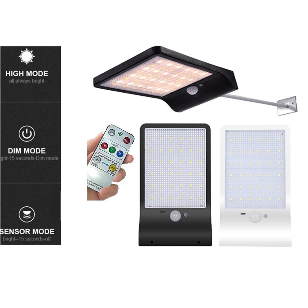 Solar Wall Light 48 LEDs PIR Motion Sensor Nightlight Solar Lamp For Outdoor Garden Street Yard Path Sound Control Remote Contro