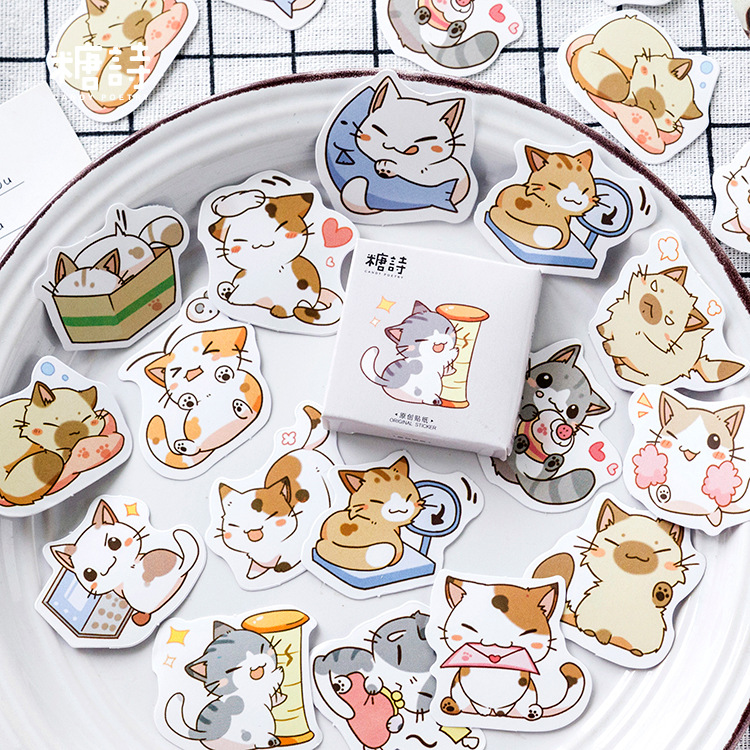 Mohamm 45 Pcs Cute Cat Scrapbooking Stickers Cartoon Paper Sticker Flakes Stationary Office Accessor