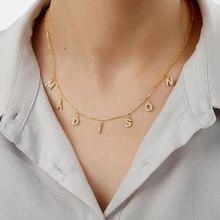 Aço inoxidável nome personalizado zircão colar personalizado nome de cristal colares pingente corrente para mulheres jóias aniversário gif