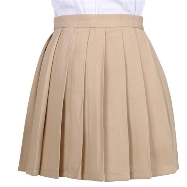 Women's Skirts Ladies Kawaii Pleated Cos Macarons Solid Color High Waist Skirt Female Korean Harajuku Clothing For Women Casual 3