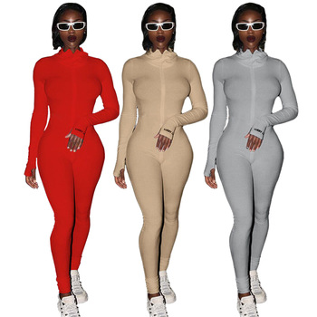 Streetwear White Knitted Sexy Bodycon Lucky Label Jumpsuit Women Overall 2020 Long Sleeve Skinny Rompers Womens Jumpsuit Female 1