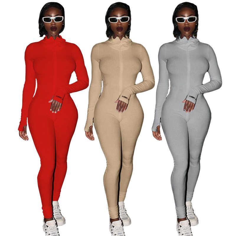 Streetwear Putih Rajutan Seksi Bodycon Beruntung Label Jumpsuit Wanita Secara Keseluruhan 2020 Lengan Panjang Skinny Rompers Wanita Jumpsuit Wanita