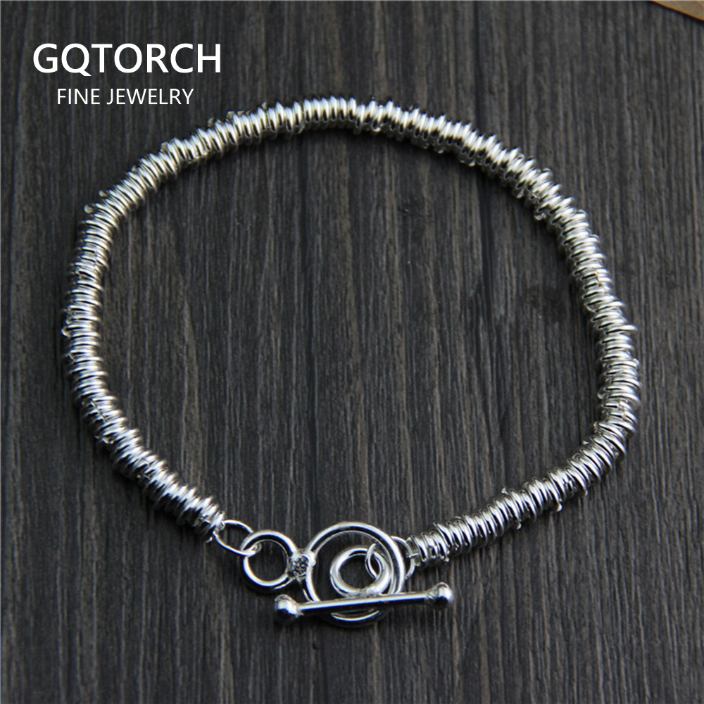 Real Pure 925 Sterling Silver Handmade Bracelet For Women Vintage