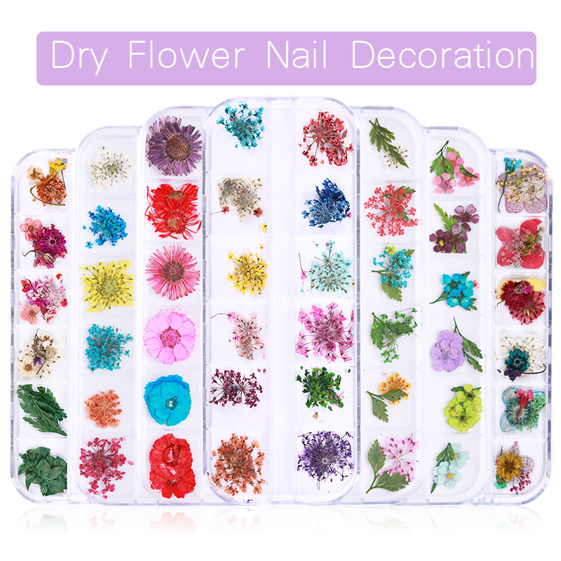 Nail Dried Flower Real Floral 3D Nail Art Decorations Gel Polish Natural Floral Sticker Slider DIY Design Accessories Nail Tips