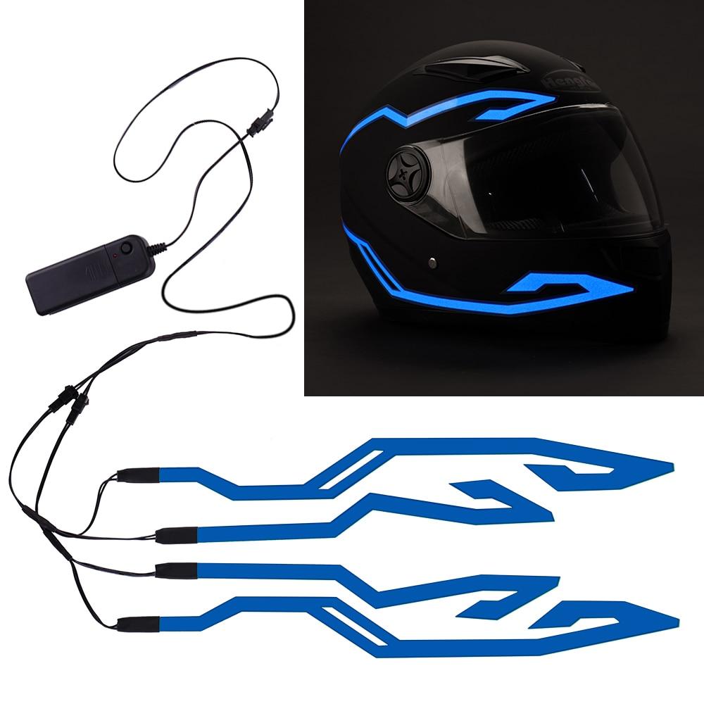 4PCS Motorcycle LED Night Riding Signal Helmet EL Cold Light 4 Mode Helmet Led Lights Strip Kit Bar Accessories Light Decoration