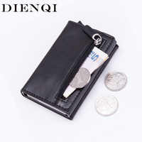 DIENQI Anti Rfid Card Holder Coin Purse Men Women Change Purse Leather Money Bag Slim Small Pouch Mini Bag Metal Wallet Purse