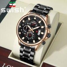 Мужские кварцевые наручные часы swish модель 2020 светящиеся