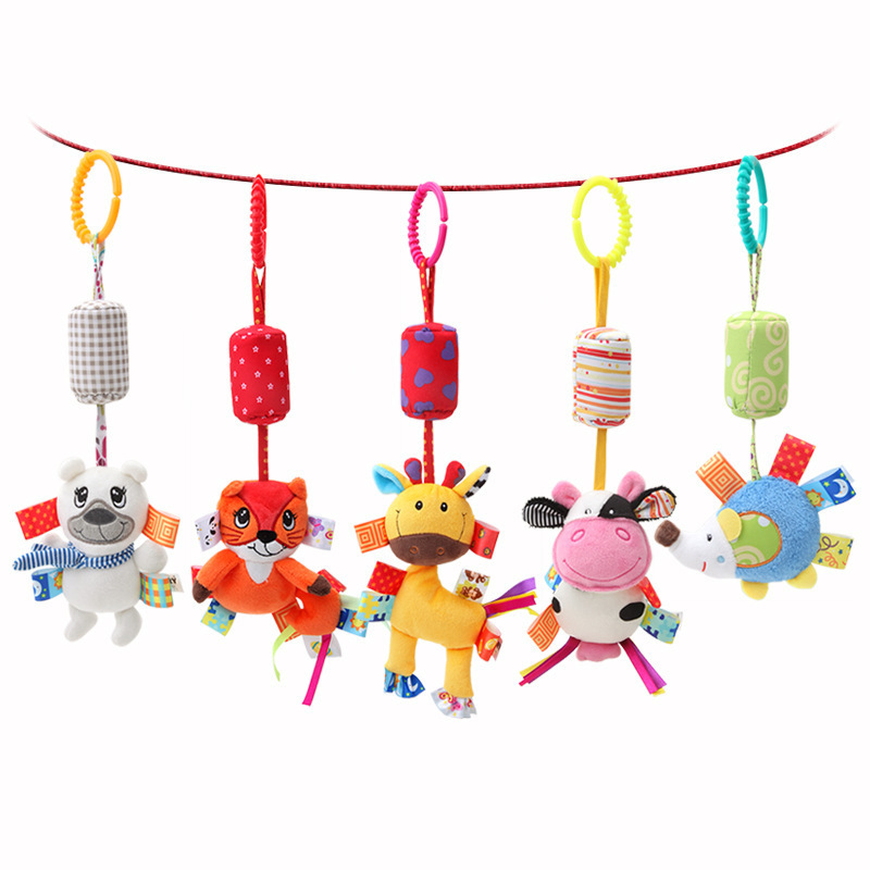 Dolery Infant Animal Wind Chime Baby Plush Bed Hanging Bell Infants Plush Toys Newborns Car Pendant