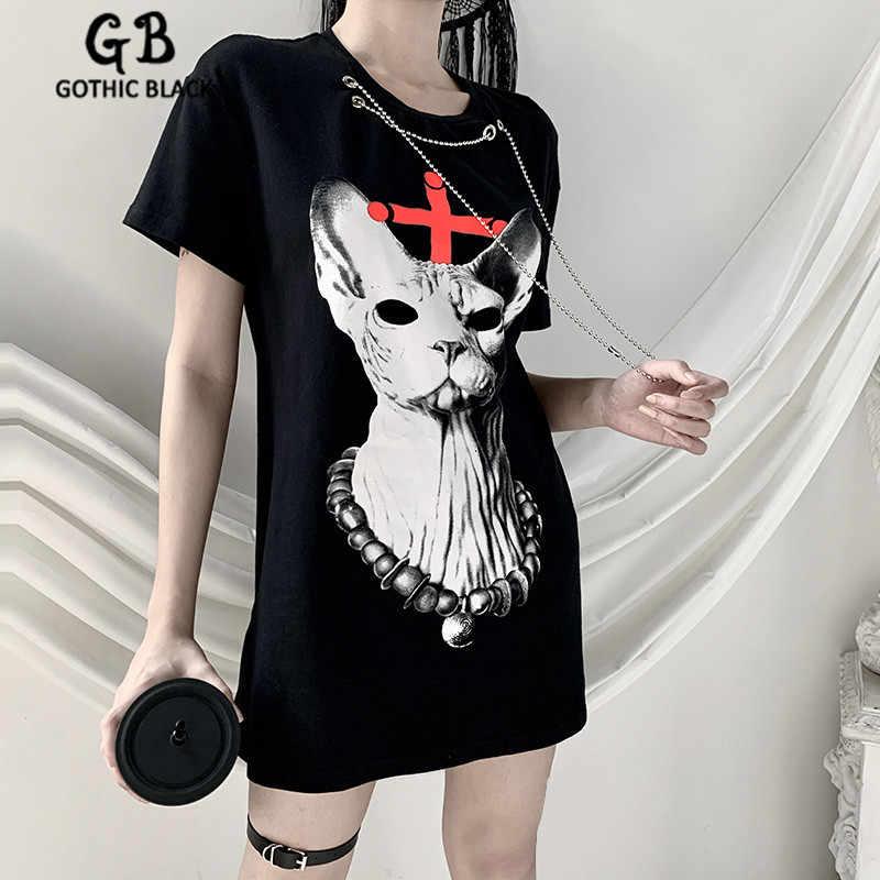 Gothblack Punk Ketting Kat Afdrukken Losse Lange T-shirt Gothic Vrouwen O-hals Korte Mouw Hip Hop Lange Tops Vrouwelijke Streetwear 2020 nieuwe