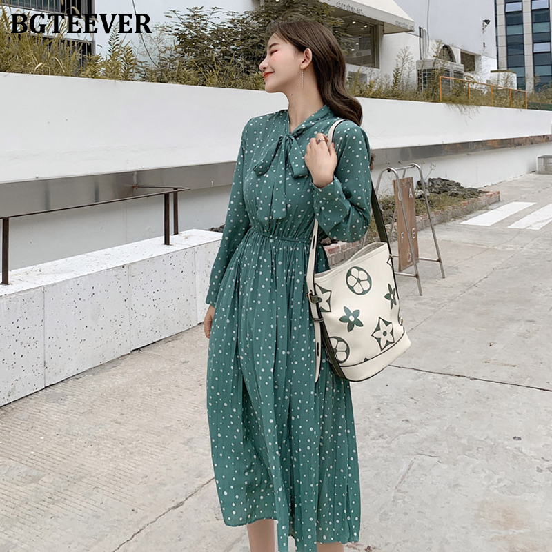 BGTEEVER Bow-neck Polka Dots Female Dress Full Sleeve Elastic Waist Chiffon Pleated Women Dress 2019 Autumn Midi Vestidos Femme