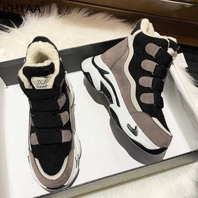 Winter Women's Sneakers Thick Platform Fashion Casual Ankle Boots Shoes Woman Plush Warm Footwear Women Hook Loop Female Shoes|Women's Flats| - AliExpress