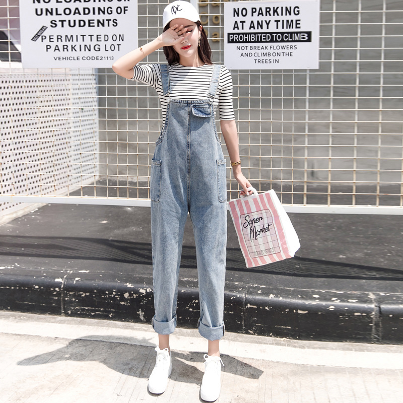 2019 Spring WOMEN'S Dress New Style Korean-style Fresh And Sweet Suspender Pants Loose-Fit INS Students Jeans