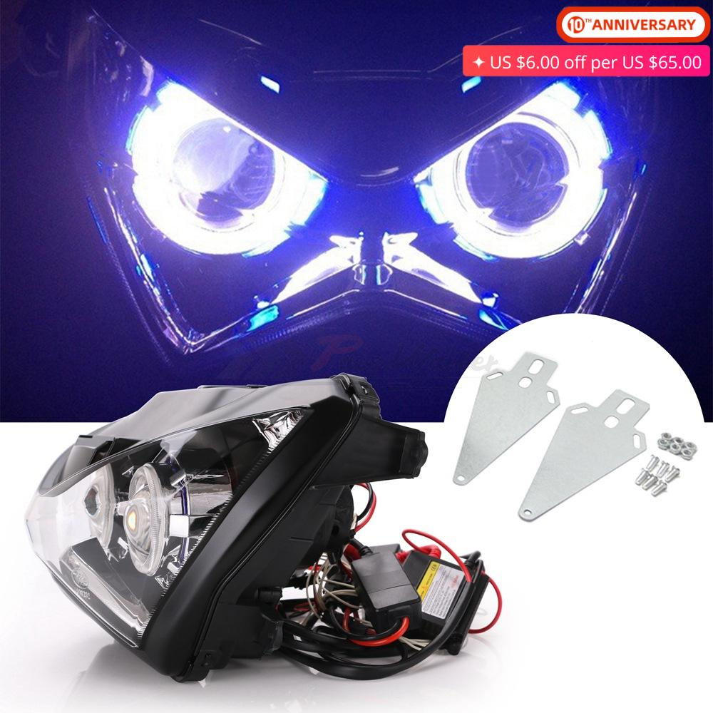For Kawasaki Z800 Z250 HID Halo Eye Front Headlight Headlamp Assembly Projector Z 800 <font><b>250</b></font> <font><b>2013</b></font> 2014 2015 2016 Motor Accessories image