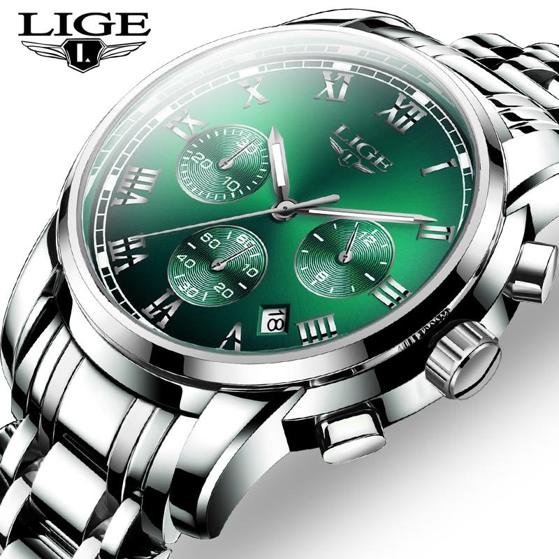 2020 New Fashion Mens Watches LIGE Top Brand Luxury Business Quartz Watch Mens Stainless Steel Waterproof Chronograph Wristwatch