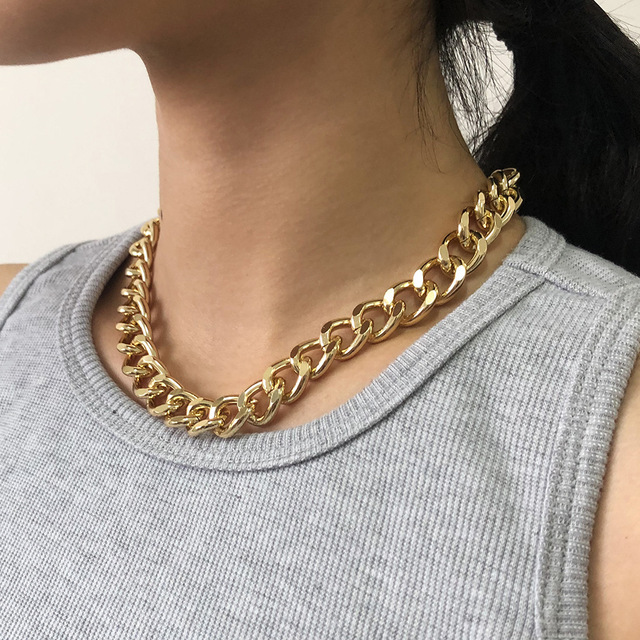 2021 Fashion Big Necklace for Women Twist Gold Silver Color Chunky Thick Lock Choker Chain Necklaces Party Jewelry 2