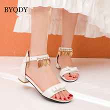 BYQDY Pink Beige Blue Butterfly-knot Sandals Ankle Strap PU Low Heel Sandals Women String Bead Tassel Princess Lolita Shoes princess sweet lolita shoes loliloliyoyo antaina japanese design shoes custom pink bright pu skin thick heel zip shoes 5193s 1