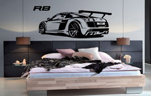 Customizable personalized name R8 Super car vinyl wall stickers Sports car enthusiasts youth room shool home wall decal 2CE20