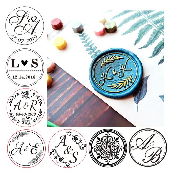 DIY Customize Double Name 2 Initials Personalized Letter Stamp/Sealing Wax /wedding Wax Seal Stamp Custom Invitations Envelop