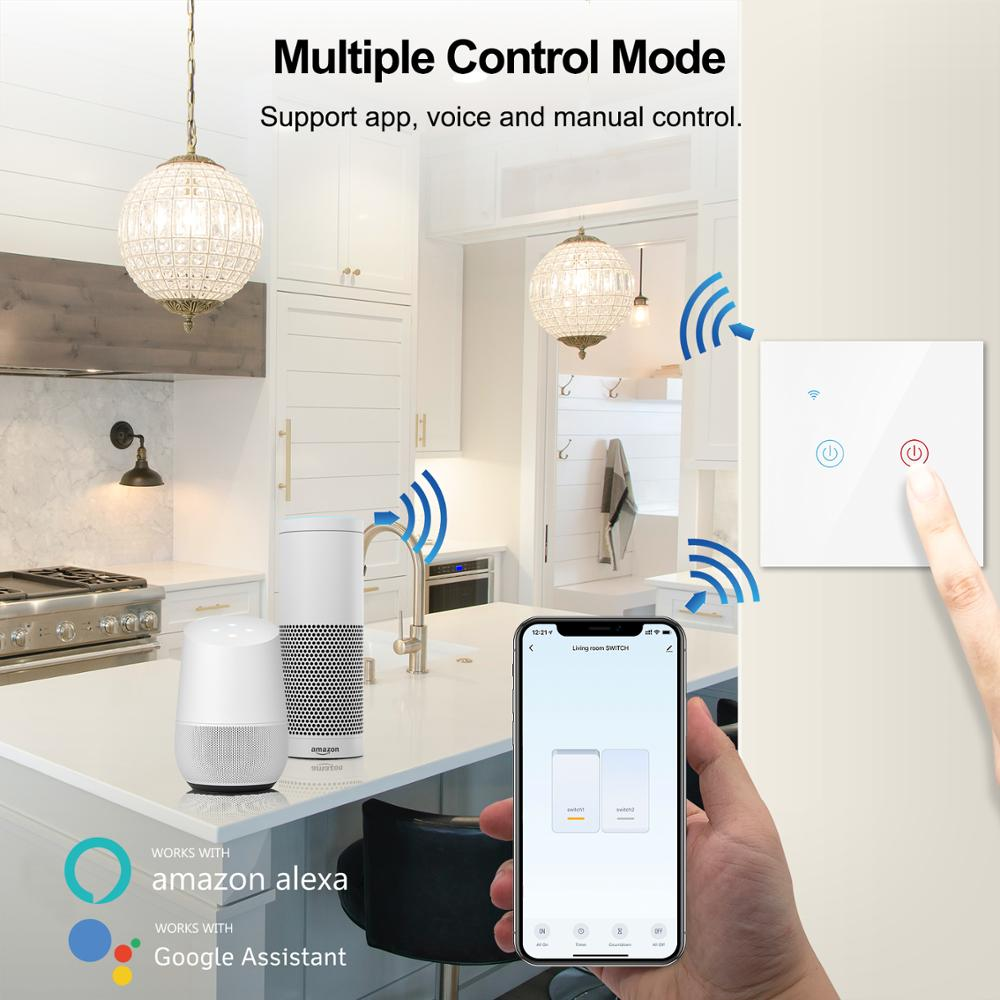Tuya Smart Wifi Touch Light Switch EU 220V, No Neutral Wire Required Wall Switch 1/2/3/4 Gang, Compatible with Alexa Google Home 4