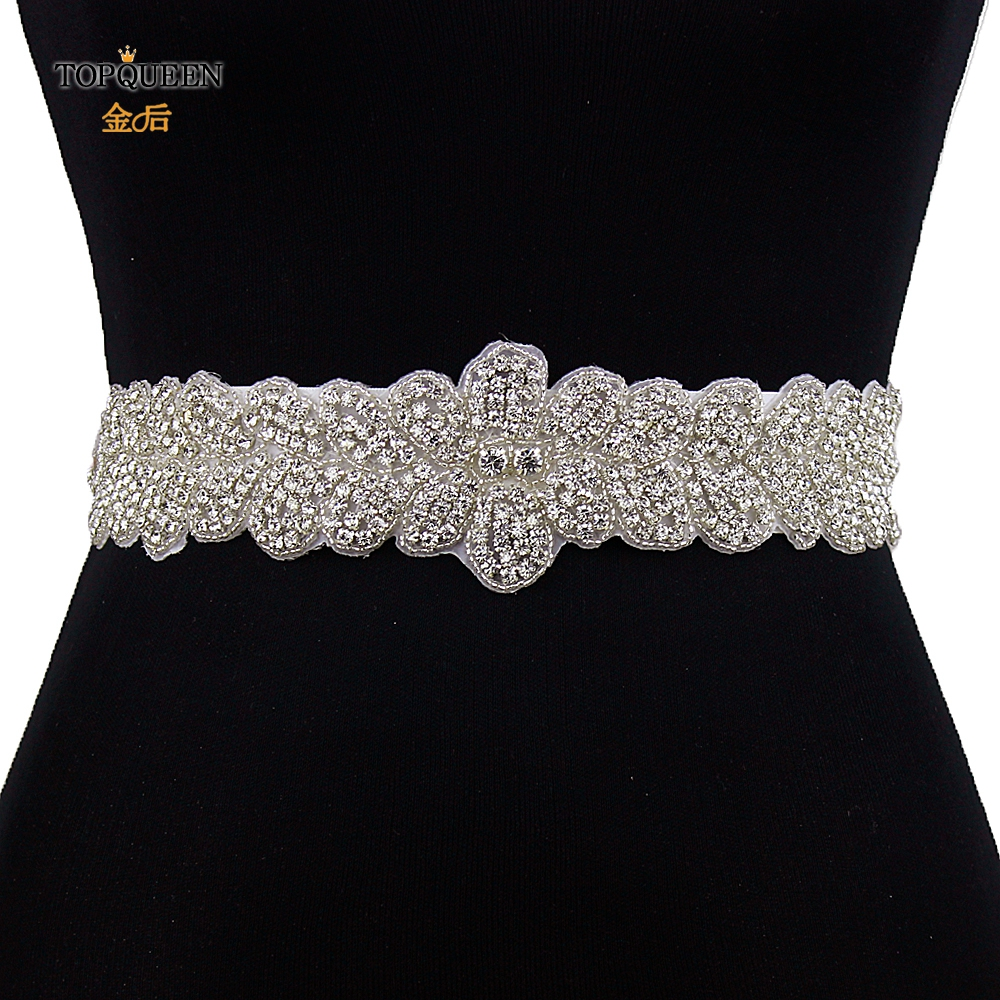 TOPQUEEN S160 Fast Delivery Stock Rhinestones Wedding Dress Sash For Bridal Belt Handmade With Rhinestones Applique