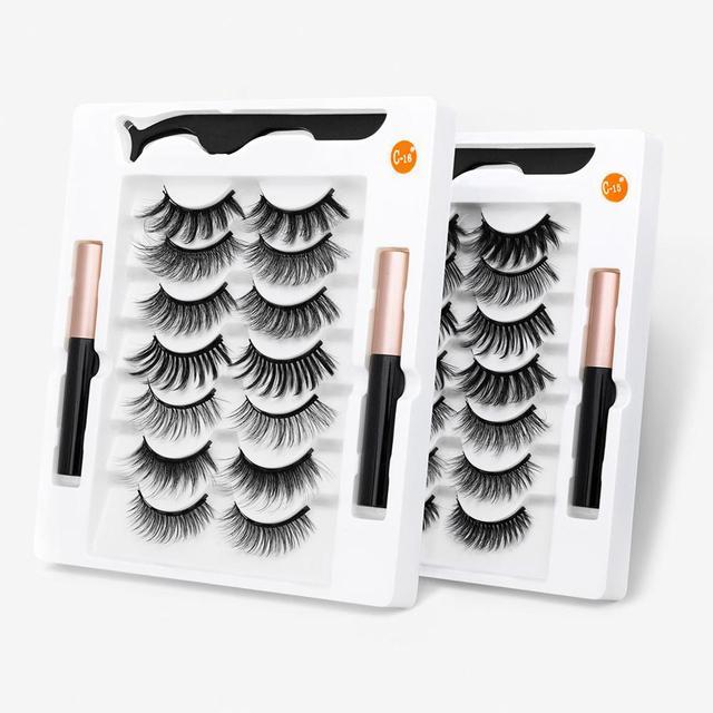 HELAN df50dan Magnetic Eyelashes Set Natural Long Magnetic False Eyelashes Magnetic Eyeliner Set Easy To Wear Lashes 2