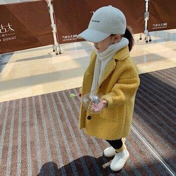 Hot Sale Girl's Coat Deer Leather Velvet Plus Lamb Velvet One-body Coat Winter Wear Children's Clothing Baby Girl Long Jacket 1