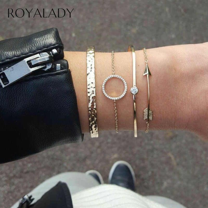 4 Pcs/Set Bohemian Round Arrow Crystal Chain Gold Bracelets Set Ladies 2019 Vintage Punk Femme Bracelets Bangle Jewelry Gift