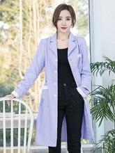 Light purple beauty salon overalls in sleeves long sleeves semi-permanent manicure female nurses summer wear