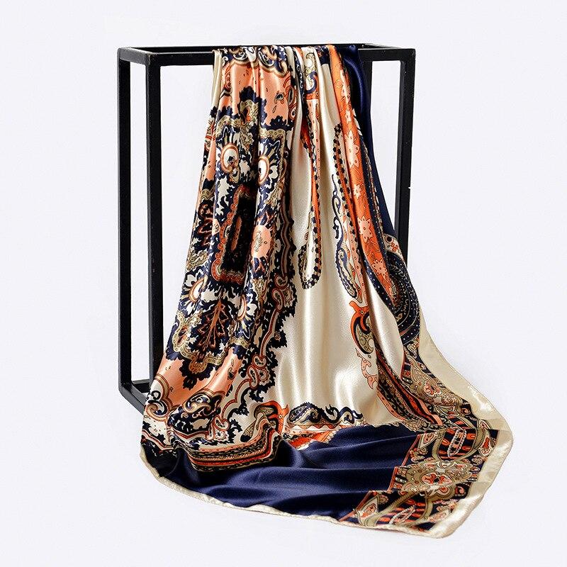 90*90cm Paisley Print Hijab Scarf For Women Fashion Kerchief Silk Satin Neck Scarves And Wraps Square Shawls Bandana Head Scarfs