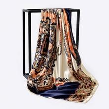 90*90cm Paisley Print Hijab Scarf For Women Fashion Kerchief Silk Satin Neck Scarves and Wraps Square Shawls Bandana Head Scarfs square scarf with paisley print