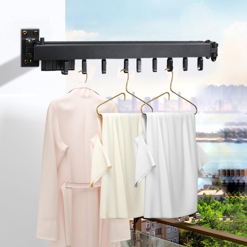 1pc Folding Wall Mounted Clothes Hanger Outdoor Balcony Multi-function Drying Rack Retractable Invisible Folding Clothes Hanger