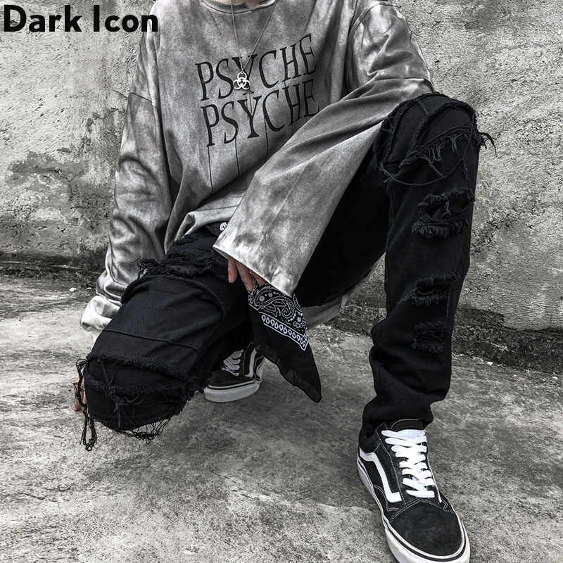 Dark Icon Ripped Jeans Men Slim Fit Denim Pants Hip Hop Jean Pants Men's Trouseres Streetwear