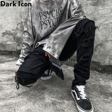 Dark Icon Ripped Jeans Men Slim Fit Denim Pants Hip Hop Jean Mens Trouseres Streetwear