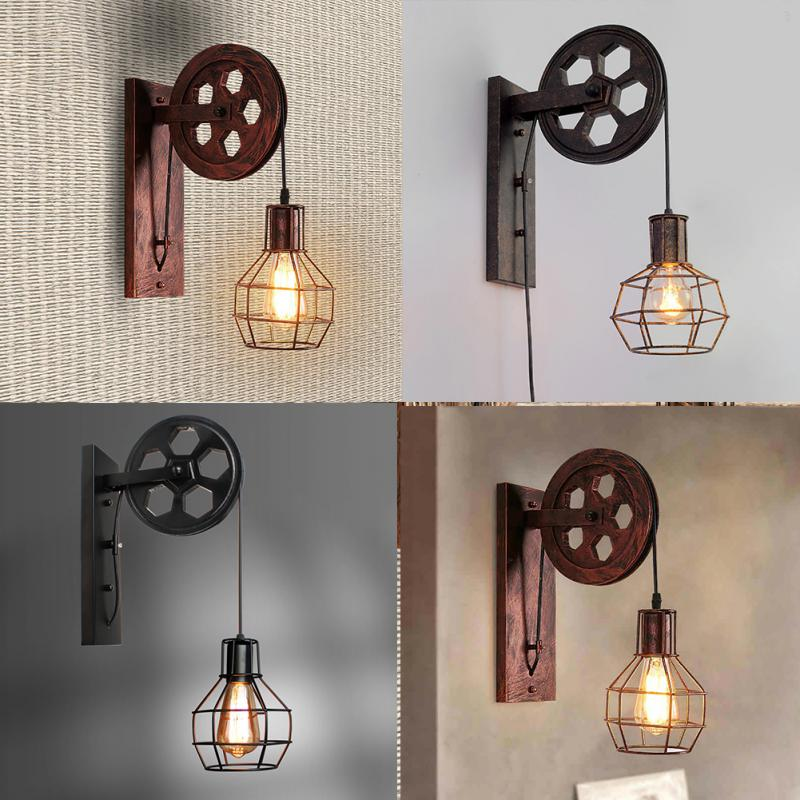 Wall Lamp Lifting Pulley Home Corridor Living Room E27 Restaurant Rustic Iron Loft Cafe Adjustable Sconce Light Retro Industrial