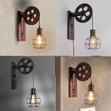 Lámpara de pared, polea de elevación, pasillo de casa, sala de estar E27, restaurante, rústico, Loft, cafetería, candelabro ajustable, Luz Retro Industrial