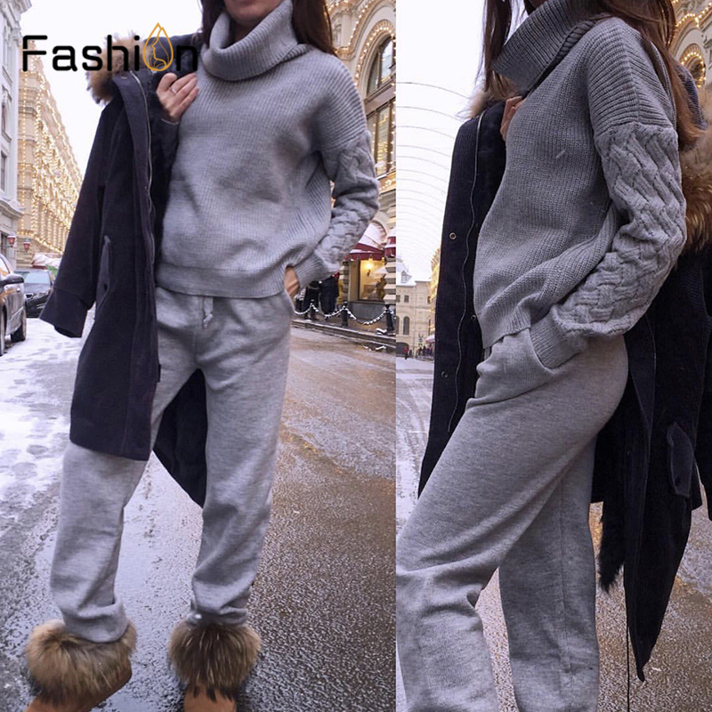 Women Sweater Two Piece Knitted Sets Suits Slim Tracksuit 2019 Autumn Winter Fashion Sweatshirts Sporting Suit Female Outfits