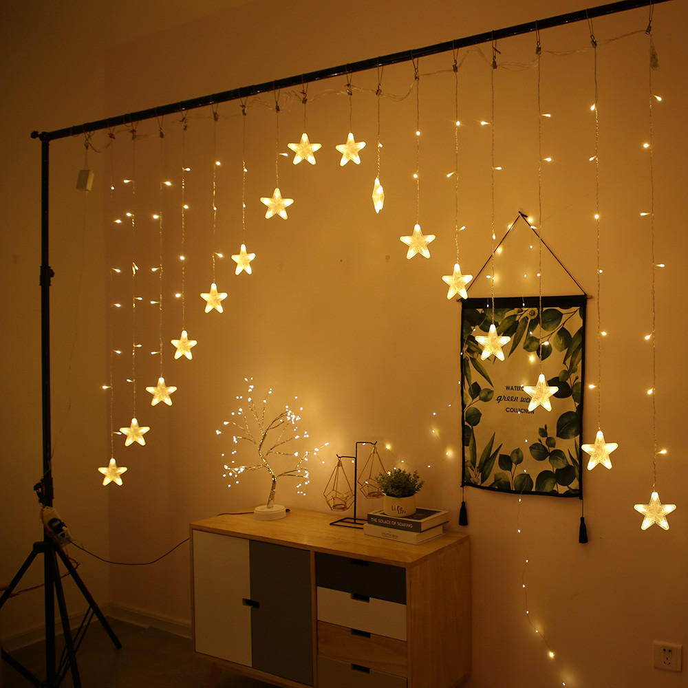 3M AC220V Christmas Lights Romantic Fairy Star LED Curtain String Lighting For Home Bedroom Wedding Party Decoration Garland