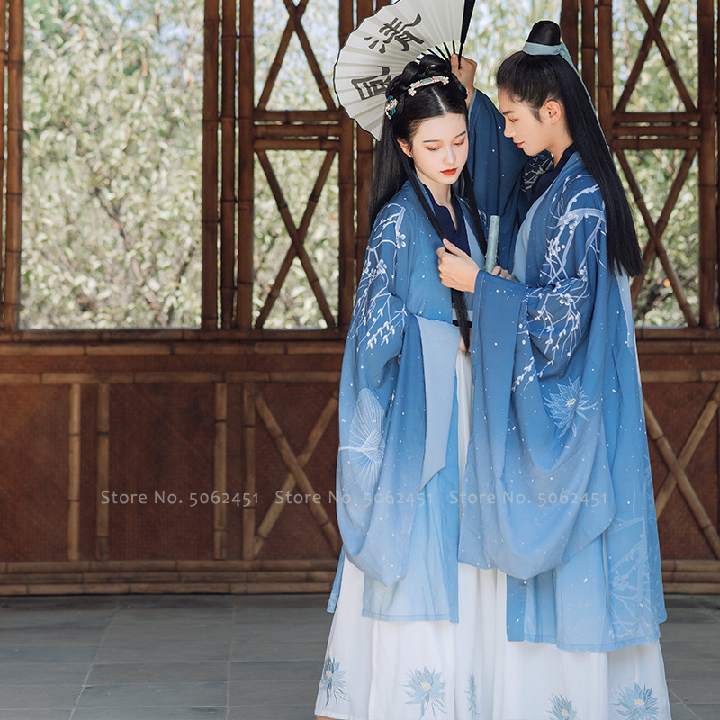 Traditional Chinese Improved Hanfu Gowns Tang Suit Stage Dress Women Men Couples Oriental Festival Outfits Robes Ancient Costume